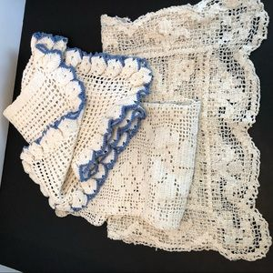 Lot Of 3 Crocheted Lace Work Pieces Crafts
